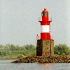 Lighthouse on the island Pagensand (Elbe)